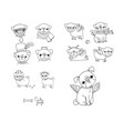 set of little pugs cute animals vector image