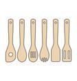 set of wooden kitchen utensils vector image vector image