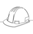 single continuous line safety hard hat vector image