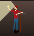 the miner at work found a gold coin vector image