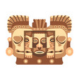totemic wooden sculpture of mayan culture with vector image vector image