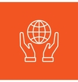 Two hands holding globe line icon vector image