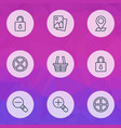 web icons set with cancel check in close padlock vector image vector image