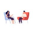 woman psychologist couple talking flat man woman vector image vector image