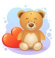 Cute teddy bear children toy with heart vector image