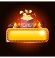 Golden movie theater banner sign with pop corn and vector image