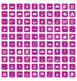 100 inn icons set grunge pink vector image vector image