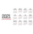 2021 calendar template simple design vector image