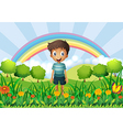 A boy in the fields vector image
