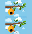 a set of beehiver and bee vector image