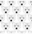bear head seamless pattern black and white vector image vector image