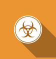 biohazard symbol icon isolated with long shadow vector image vector image