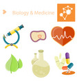 biology and medecine poster with set vector image vector image
