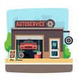 car repair mechanic shop with automobile inside vector image
