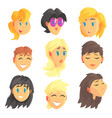cartoon avatar female faces with different vector image vector image
