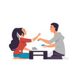 cartoon boy and girl on date happy couple in cafe vector image