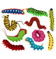 cartoon caterpillars cute summer insects spring vector image vector image