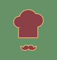 chef hat and moustache sign cordovan icon vector image vector image