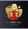 christmas sale card gold vector image vector image