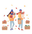 cute man and woman with a craft paper and eco bag vector image