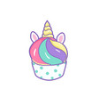 cute unicorn cupcake on a white background vector image vector image