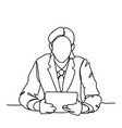 doodle business man sitting at desk read document vector image vector image