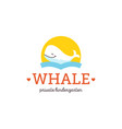 flat cartoon whale character icon logo doodle vector image vector image