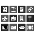 Flat travel trip and holiday icons vector image vector image