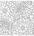 floral tile pattern flower chrysanthemums line art vector image