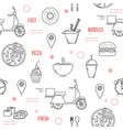 food delivery seamless pattern with thin line vector image vector image