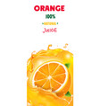 fresh orange juice banner background with splashes vector image vector image