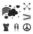 gay and lesbian black icons in set collection for vector image