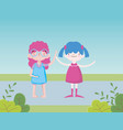 happy childrens day little gilrs waving hands in vector image