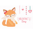 happy valentines day cute female fox hanging vector image