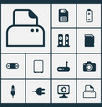 hardware icons set with modem tablet phone sd vector image