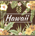 hawaii slogan tropical leaves hibiscus brown vector image