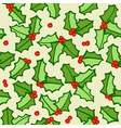 Holly seamless background vector image vector image