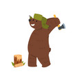 humanized male bear character with ax chopping vector image