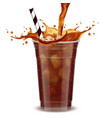 iced coffee takeaway cup with liquid pouring down vector image