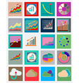 Icons with flat design elements of schedule vector image vector image