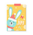 joy rabbit with hat on poster vector image vector image