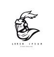 knight mascot logo design black and white vector image
