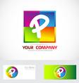 Letter p logo colors vector image