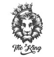 lion head in king crown in engraving style vector image vector image