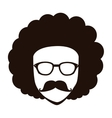 Man afro glasses cartoon vector image
