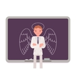 Man against the blackboard with drawn angel vector image