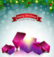 Merry Christmas card surprise gift box vector image vector image