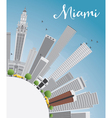 Miami Skyline with Gray Buildings Blue Sky vector image vector image