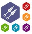 ninja weapon kunai icons set hexagon vector image vector image