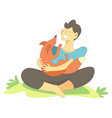 pet with owner male cuddling with fox vector image